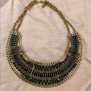 Jewelry - Gold And Black Statement Necklace